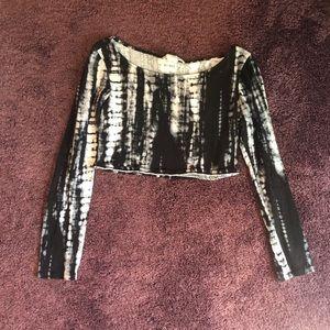 Black tie dye cropped longsleeve shirt